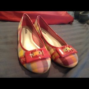NWOT Red Checker Flats